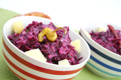 Fresh salads. Some fresh salads of red cabbage with potatoes Royalty Free Stock Photography
