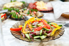 Fresh salads on a banquet table Royalty Free Stock Photo