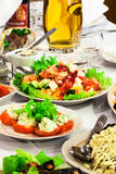 Fresh salads and juice Stock Photo