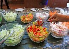 Fresh salads in restaurant Stock Photography