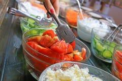 Fresh salads in restaurant Stock Images