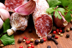 Fresh salami Stock Photography