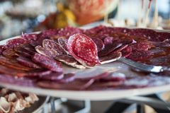 Fresh Salami Buffet royalty free stock images