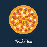 Fresh salami pizza. Flat style  illustration of healthy pizza Royalty Free Stock Photos