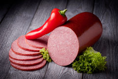 Fresh salami sausage Stock Photography