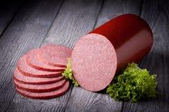 Fresh salami sausage Stock Images