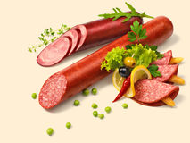 Fresh salami Stock Photo