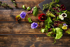 Fresh saland ingredients lettuce flowers spinach Royalty Free Stock Photography