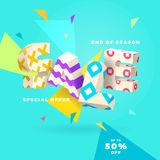 Fresh sale banner, 3D letters and abstract shapes Stock Photography