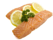 Fresh salmon. Two salmon steaks isolated on a white background Stock Photography