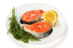 Fresh salmon. Slices of a fresh salmon lemon and fennel isolated on a white background Royalty Free Stock Images