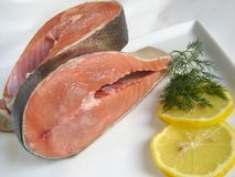 Fresh salmon. With lemon decoration stock photos