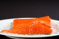 Fresh Salmon. Raw fillets of fresh Sockeye Salmon on a dinner plate Royalty Free Stock Photography
