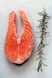 Fresh salmon. Slice of raw salmon and fresh Royalty Free Stock Images