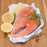 Fresh salmon. With several ingredients Royalty Free Stock Image