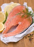 Fresh salmon. With several ingredients Stock Photography