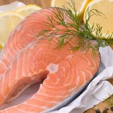 Fresh salmon. With several ingredients Stock Image