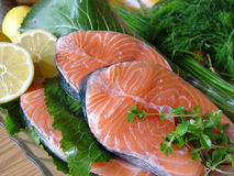 Fresh salmon. Fish fillets Royalty Free Stock Photo