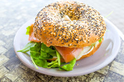 Fresh Salmon Bagel Royalty Free Stock Photo