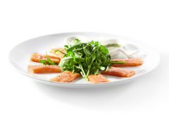Fresh Salmon Carpaccio royalty free stock images