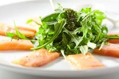 Fresh Salmon Carpaccio royalty free stock photography