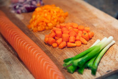 Fresh salmon with chopped vegetables on a board Royalty Free Stock Image