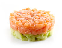Fresh salmon and cucumber tartare Stock Photos