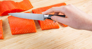 Fresh Salmon Cut into Pieces for Dinner Royalty Free Stock Photos