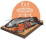 Fresh salmon on a cutting board. Fresh sliced salmons on a cutting board Stock Photos