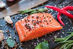 Fresh salmon on the cutting board. stock image
