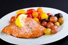 Fresh Salmon Dinner Stock Photo