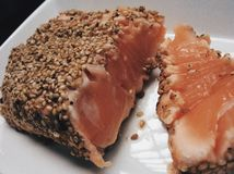 Fresh salmon dish. Salmon from Japan fresh made.very delicious light healthy food. With sesame covered. Creative fish cooking Stock Images