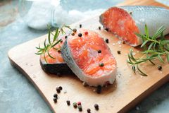 Fresh salmon filets Stock Photos