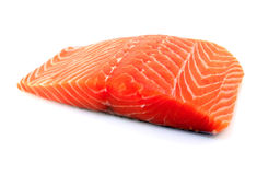 Fresh salmon fillet. Raw salmon fillet on white background Royalty Free Stock Image