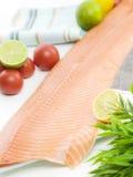 Fresh Salmon Fillet. With Tomato Lime And Lemon Stock Photos