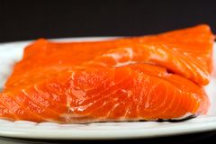 Fresh Salmon Fillet. Two bright red Salmon fillets on a plate Royalty Free Stock Photo