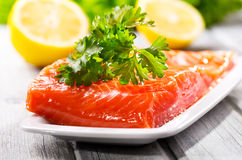 Fresh salmon fillet. On wooden table Stock Photography