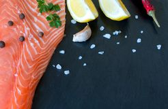 Fresh salmon fillet with aromatic herbs, spices, garlic, lemon o royalty free stock photo