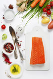 Fresh salmon fillet with aromatic herbs, spices and vegetables Royalty Free Stock Photography
