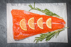 Fresh salmon fillet with aromatic herbs, spices Stock Photography