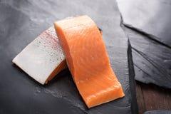 Fresh salmon  fillet on black background.  Stock Photography