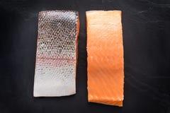 Fresh salmon  fillet on black background.  Stock Images