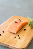 Fresh Salmon Fillet on board Royalty Free Stock Image