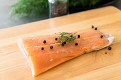 Fresh Salmon Fillet on board Royalty Free Stock Photo