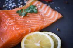 Fresh salmon fillet on dark background Close up of raw salmon fish seafood with lemon herbs and spices stock photos