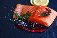 Fresh salmon fillet on dark background Close up of raw salmon fish seafood with lemon herbs and spices chilli royalty free stock photography
