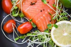 Fresh salmon fillet on dark background royalty free stock image