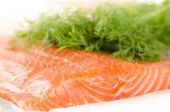 Fresh salmon fillet with dill on baking paper Stock Photo
