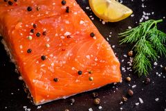 Fresh salmon fillet with dill and lemon closeup. On dark background Stock Photography