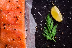 Fresh salmon fillet with dill and lemon. On dark background Royalty Free Stock Photography